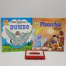 Pinocchio Dumbo Disney Storyteller Read Along 2 Books Cassette Lot Take 1970s