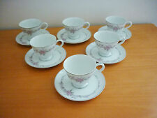 SET OF 6 VINTAGE MIKASA FINE CHINA AMELIA PATTERN # 5648 CUPS & SAUCERS SETJAPAN