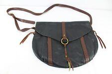 "Lucky Brand Cowhide Leather Black Brown Crossbody Shoulder Handbag 14"""