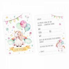 5 Einladungskarten Einhorn mit Glitzer inkl. Umschlag Kindergeburtstag Mädchen
