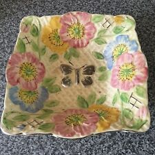 Old Hand Painted Bowl with Butterfly & Flower Design