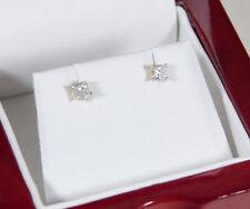 Diamond Princess Stud Earrings Genuine 1/3 .33 TCW Carat 14K Yellow Gold Square