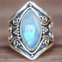Fashion Moonstone 925 Silver Women Men Finger Band Ring Wedding Jewelry Muse