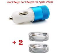 Fit to Apple iPhone 12/11/X/XS/8/6 In Car Fast Charger + 2x 8-Pin Charging Cable