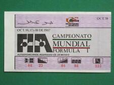 1987 FORMULA 1 MEXICO GRAND PRIX OCTOBER 18 RACING ORIGINAL MEXICAN TICKET RACE