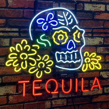 """Skull Tequila Real Glass Neon Signs Decor Wall Garage Beer Bar Light 24""""x20"""""""