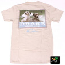 NEW DRAKE WATERFOWL SOUTHERN COLLECTION BLACK AND YELLOW LAB T-SHIRT TAN MEDIUM