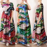 UK Women Summer Short Sleeve Long Maxi Sundress Casual Loose Kaftan Floral Dress