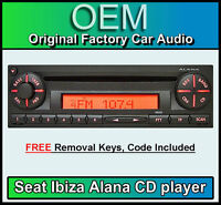 Seat Ibiza CD player, Seat Alana car stereo radio, supplied with radio code