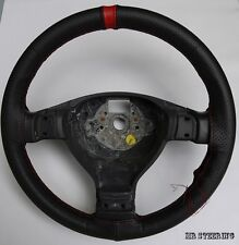 FOR VOLVO FH TRUCK 02+ BLACK PERFORATED LEATHER + RED STRAP STEERING WHEEL COVER