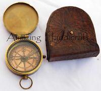 Vintage Poem Engraved Brass Compass With Leather Pocket Case