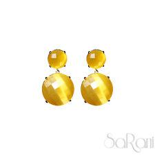 Orecchini Oro Bigiotteria Bijoux Donna Giallo Pendenti Elegante Brillante SARANI