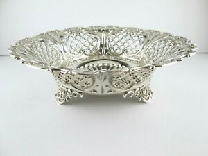 """Antique Whiting Sterling Silver Footed Pierced Fruit Bowl 9 """""""