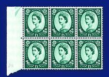 1966 SG618 1s3d Green S147 Marginal Block (6) MNH CV £11.40 anks