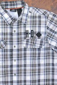 Harley-Davidson SS Button Front Shirt Gray Plaid Men's Large L