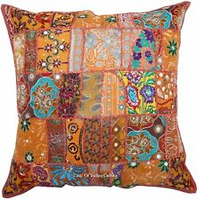 "New Brown 24"" Cushion Pillow Cover Patchwork Sofa Throw Indian Floor Decorative"