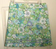 Sigrid Olsen Women's Straight Stretch Cotton  Skirt 10 Floral blue green white