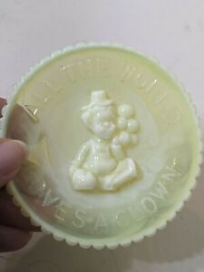 MINT Vintage MOSSER GLASS Plate All the World Loves a Clown Yellow Swirl 3 1/2""