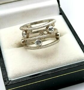925 Sterling Silver Ladies Ring I CZ Sterling Silver Wide Band Cage MONET 11mm