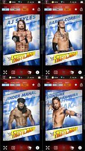 Topps WWE SLAM Digital 2018 Fastlane Blue Base AJ Styles Corbin Jinder Shinsuke