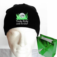 PERSONALISED GOLF BALL BEANIE HAT *FUNNY EMBROIDERED GOLF BALL IN ROUGH !!!!*