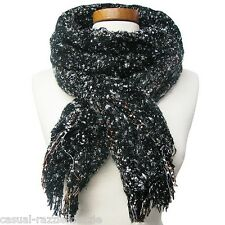 Soft Beautiful Chenille Scarf Black with light orange. Fall Colors NEW