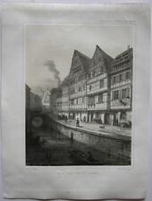 Strasbourg Fosse des Tanneurs France Orig Lithografie Müller 1840 Elsass Alsace