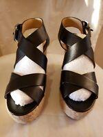 Michael Kors Celia Mid Leather Wedge Heels SZ 5 1/2 med