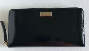 New Kate Spade New York Neda Bixby Place zip around wallet Patent Leather Black