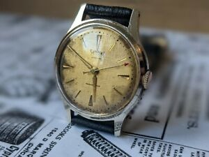 Mens Vintage Services Lance hands Linen Dial Stainless Steel GB Watch - Working
