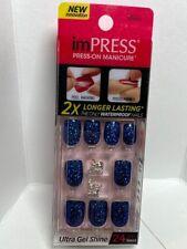 Impress Gel Manicure Press on Nails Short Deep Blue Glitter with jewel