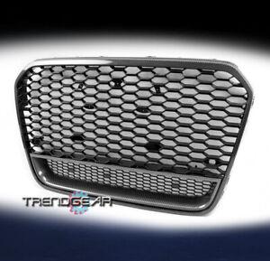 Front Mesh RS6 Style Upper Grille Black/Carbon Fiber Trim For 2012-2014 Audi A6