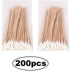 "Lot of 200 6"" Swabs Cotton Tipped Stick Applicator Single Tip (Wooden Handle)"