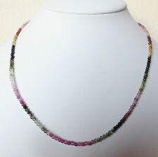 Edelsteinkette echt Turmalin 42-44 cm Halskette 2,5mm Perlen Collier -True Gems