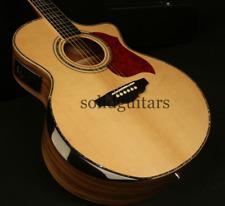 Handmade Zuwei 40in Solid Top Armest Electric Acoustic Guitar Zebra Backside