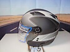 GMAX OF77 Open Face Motorcycle Helmet Flat Black/Dark Silver Small BMW Harley Y1