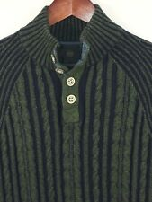 F/X Fussion Sweater Men's Medium Green Blue Cable Henley