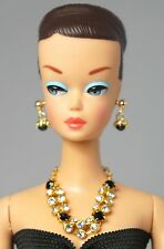 Barbie Doll Vintage Handmade Black Stone Necklace Earrings Jewelry Set NE102135