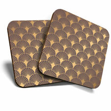 2 x Coasters - Gold Art Deco Pattern Vintage Retro Home Gift #12761