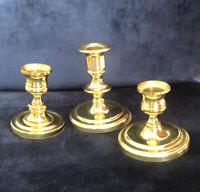Set of 3 Baldwin Classic Brass Candlesticks Heavy Shiny Solid Brass Holders