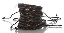 5 Black Braided Punk Rock Unisex Fashion Leather Bracelet Bangle Wristband Style