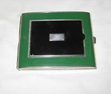 UNUSUAL VINTAGE C.1920's-30's EMERALD/BLACK ENAMEL/SILVER COMPACT/CIGARETTE CASE