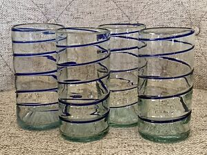 Mexican Hand Blown Glass Blue Swirl Tumbler Glasses Set of 4