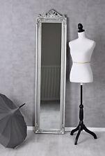 Standing Mirror Silver Dressing Baroque Antique 180x44cm Floor
