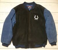 Indianapolis Colts Pro Player Heavy Suede Jacket Size XL Embroidered