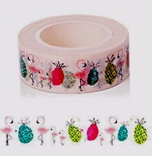 BEAUTIFUL WASHI Paper Tape PINK FLAMINGO AND PINEAPPLES USA SELLER Planner craft