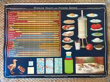 Vintage Denoyer Geppert Winslow Health Hygiene School Wall Chart FOOD VALUES