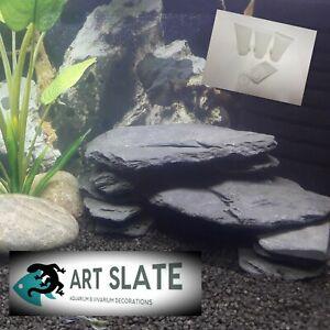 Art Slate 2kg Fish Tank Aquarium Natural Decoration Ornament Cave with Glue Set