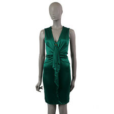 37910 auth GUCCI dark green viscose DRAPPED Sleeveless Cocktail Dress S