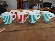 Vintage Hazel Atlas Turquoise and red Candy Striped Coffee Mugs -Set Of 7 Cups